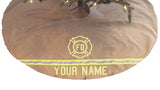 Firefighter Personalized TAN Tree Skirt and ALL TAN Stockings