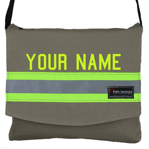 Firefighter TAN Reversible Messenger Bag with LIME/YELLOW Reflector