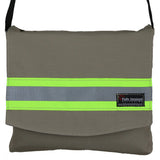 Firefighter BLACK Reversible Messenger Bag with LIME/YELLOW Reflector
