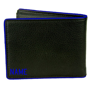 Police Thin BLUE Line of Courage Bi-fold Wallet with Optional Personalization