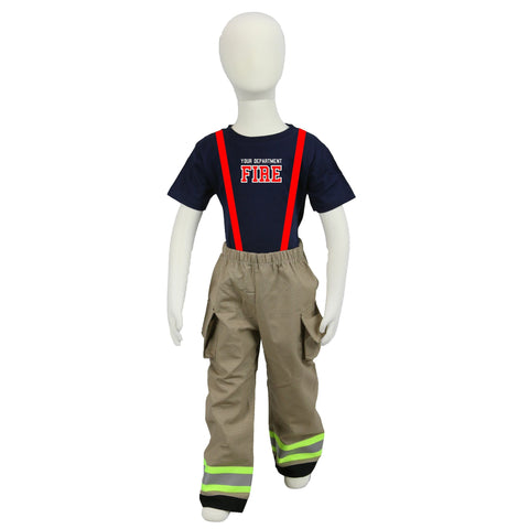 Personalized Toddler Firefighter 2-Piece Outfit with TAN Pants
