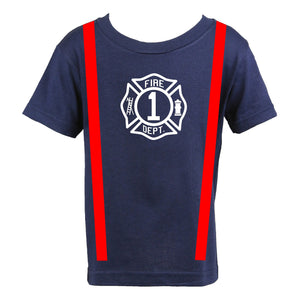 Firefighter Personalized Navy Toddler Birthday Shirt