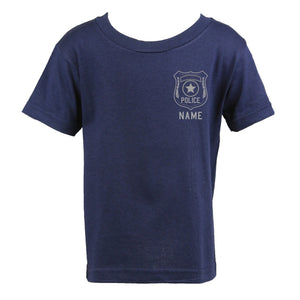 Police Personalized Navy Toddler Shirt with Badge