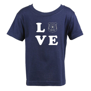 Police Personalized Navy Toddler Shirt - LOVE with Badge