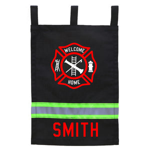 Firefighter BLACK Yard Flag - Welcome Home Maltese Cross