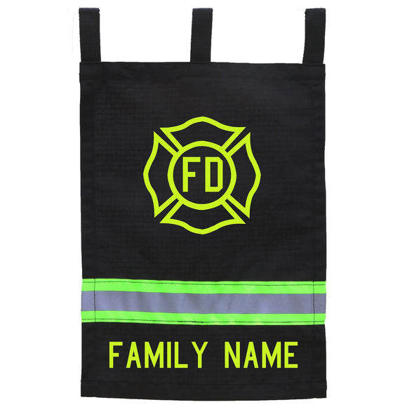 Firefighter Personalized BLACK Yard Flag - Maltese Cross and Name
