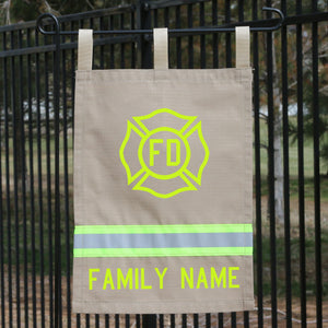 Firefighter Personalized TAN Yard Flag - Maltese Cross and Name