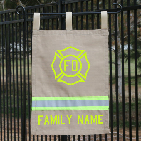 Firefighter TAN Yard Flag with Maltese Cross and Name