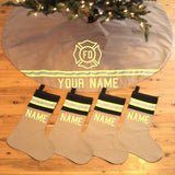 Firefighter Personalized TAN Tree Skirt and TAN/BLACK Stockings