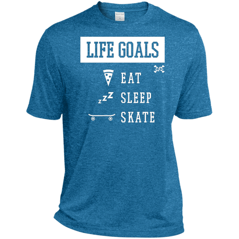 Eat, Sleep, Skate, Life Goals Tall Heather Dri-Fit Moisture-Wicking Tee