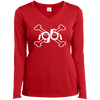 GeekBuds Cross Bones Ladies Long Sleeve Performance Vneck Tee