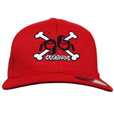 Geek Buds Crossbones logo flexfit Hat-Red