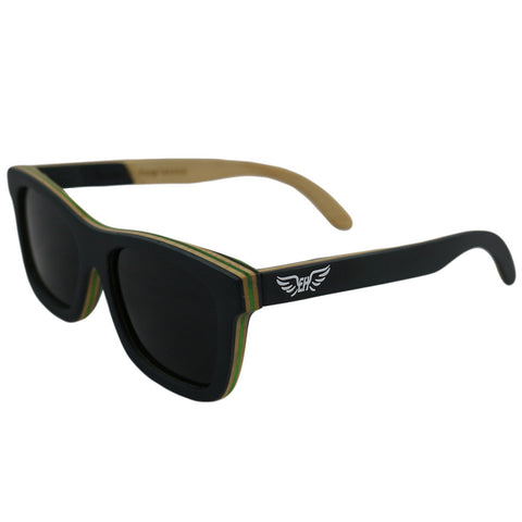 Emerald Hawk Black Handmade Bamboo Sunglasses