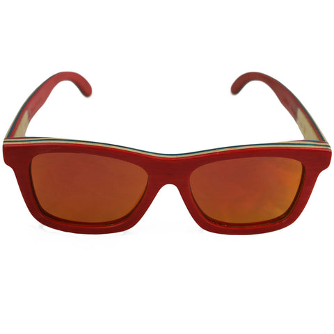 Emerald Hawk Red Skater Handmade Bamboo Sunglasses