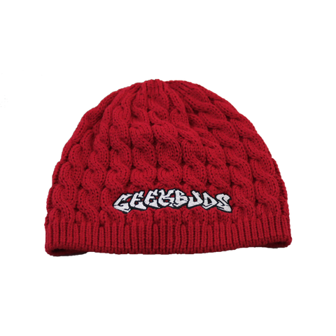 Womens Red Geekbuds Beanie