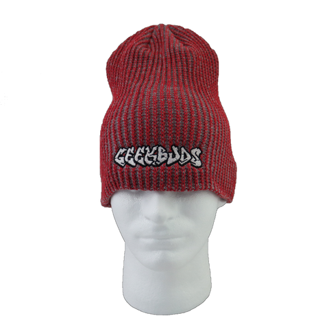 Red and Gray Stretch Geekbuds Logo Beanie