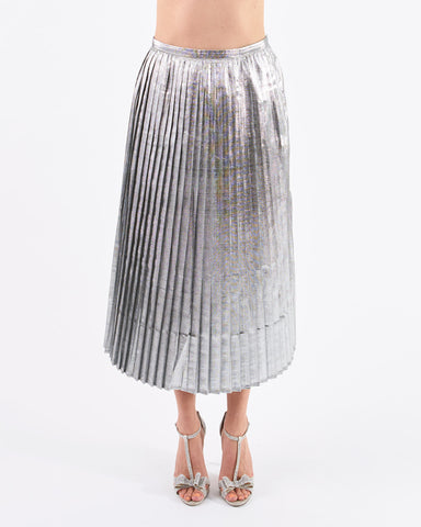 Polder Pleated Osaka Skirt Silver Lurex