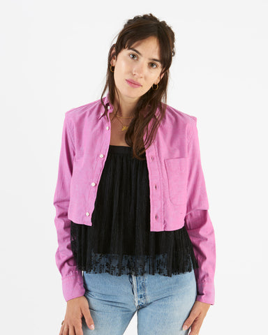 Gitman Sister - chambray crop top - pink iridescent