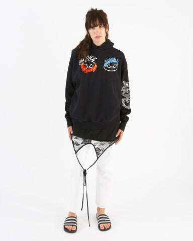 Aries - awake embroidered hoodie - black