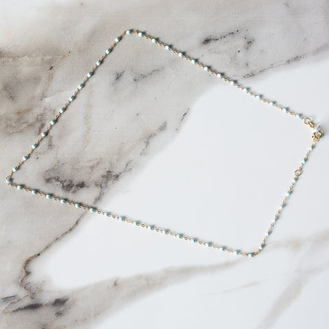 "Gigi Clozeau 16"" Gold & Resin Chain Necklace - Baby Blue"
