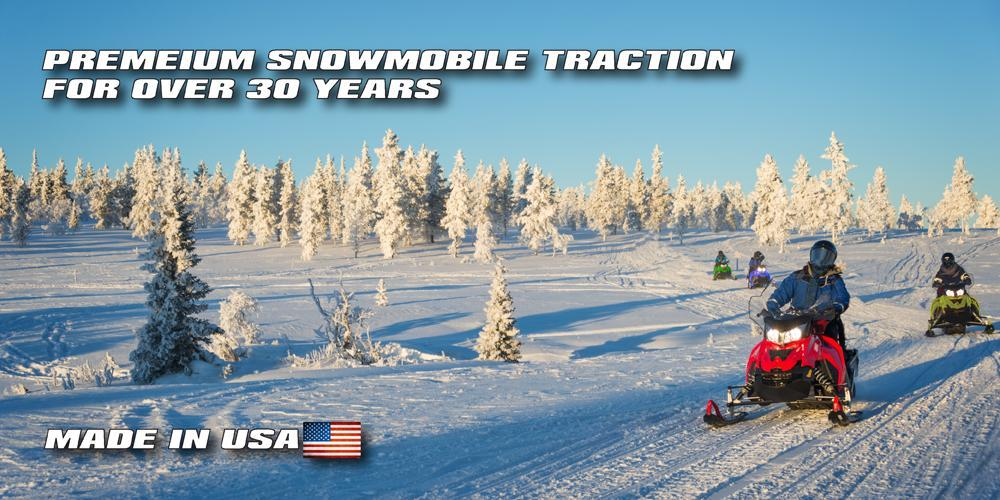 Polaris, Ski Doo, Arctic Cat, Yamaha Snowmobiles on a snowmobile trail with stud kits
