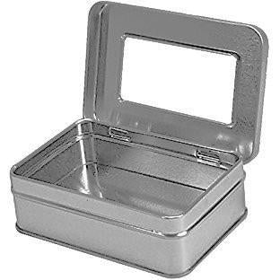 "Rectangular Empty Hinged Tin Box Containers With Clear Hinged Top. (24, Clear Top: 4.12"" X 2.75"" X 1.38"")"