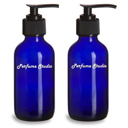 Perfume Studio™ Empty Cobalt Blue Boston Round Glass 4 Oz Bottle with D...