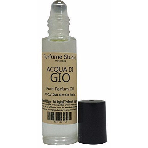 Acqua di Gio Perfume TYPE Oil for Men - 10ml Clear Glass Roller, Black Cap