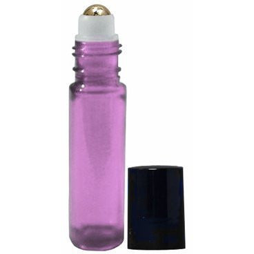Essential Oil Roller Bottles 10 ml Purple Glass With Stainless Steel Metal Ba...