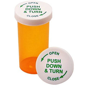 Prescription Pill Vials with Child Resistant Security Twist Caps (16 DRAM, 12 PCS)