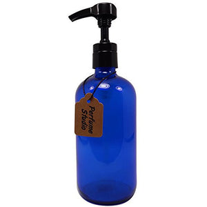 Perfume Studio® Professional Quality Blue Cobalt Glass Boston Round Bottle with Top Quality Dispensing Pump - Perfect for Lotions, Soaps, Massage and Skin Oils, Hair Treatments and More (16 OZ, COBALT BLUE)