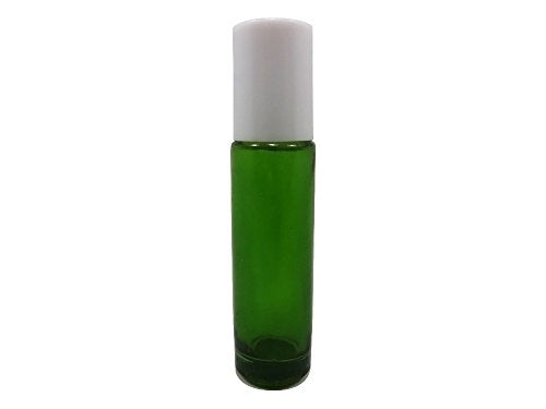 Perfume Studio® Set of Emerald Green Glass Roll Ons with Metal Ball Applicators- Ideal for Essential Oil - 10.4 ml (6, White Cap)