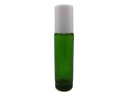 Perfume Studio® Set of Emerald Green Glass Roller Bottle for Essential Oils with Metal Ball Applicators - 10.4 ml (3, White Cap)