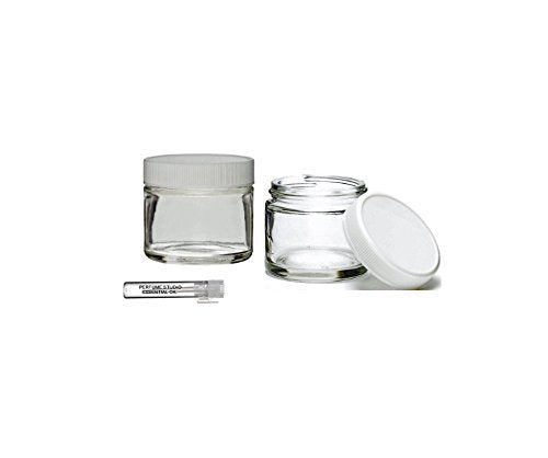 Perfume Studio Top Quality Thick Straight Sided 2oz Clear Glass Jar with White BPA Free Ribbed Cap; Plus a Pure Perfume Sample Vial (1)
