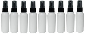 Perfume Studio 2oz HDPE White Plastic Bottles with Fine Mist Black Sprayer, FDA APPROVED, Non-Toxic, Food Grade, BPA Free, MADE IN USA Travel Accessories Bottles. (9, 2oz White/Black Sprayer Bottle)