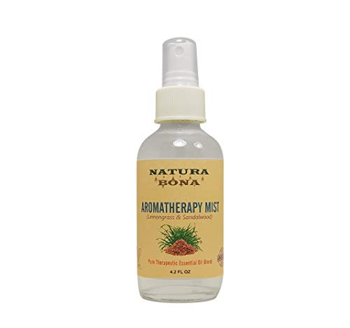 Natura Bona Essential Oil Spray for Linen, Pillows, Body, Rooms, and Bathrooms. an Aromatherapy Mist Spray Made from Natural and Organic Ingredients. (Lemongrass & Sandalwood, 4oz)