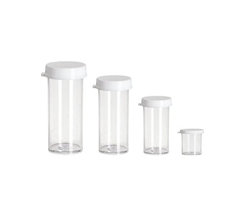 Perfume Studio 12 Piece Assortment of Clear Plastic Styrene Vial Containers with Snap Caps for Organizing & Storing Craft Supplies, Pills, Beads, Seeds; 3 of Each: 1 Dram, 3 Drams, 5 Drams, 7 Drams.