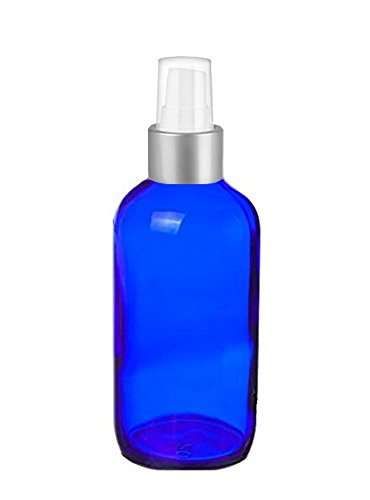 Cobalt Glass 4 Oz Spray Bottles - Perfume Studio Set of 4 Blue Glass Spray Bottles with Brushed Silver Sprayer Tops & Top Seller Perfume Oil Sample