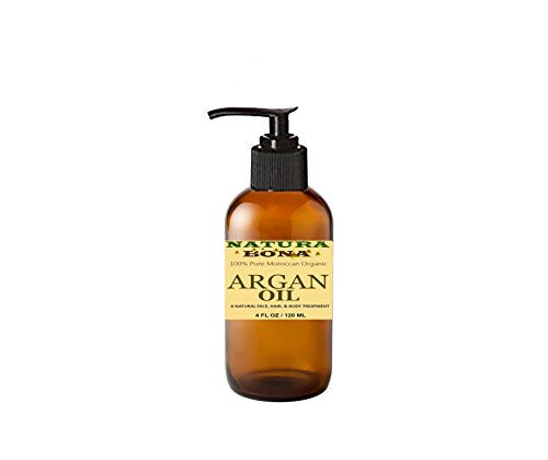 100% Pure Organic Argan Oil. A Natural Skin Moisturizer and Hair Revitalizing Oil. Packaged in a Practical 4 Oz Amber Glass Pump Bottle (Anti Aging Face Moisturizer and Hair Revitalizer)