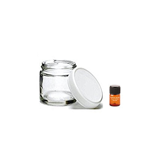 Perfume Studio Straight Sided 2oz Clear Glass Jar; Food Grade and Smell Proof Tight Lids; Plus a Pure Perfume Sample Vial (6)
