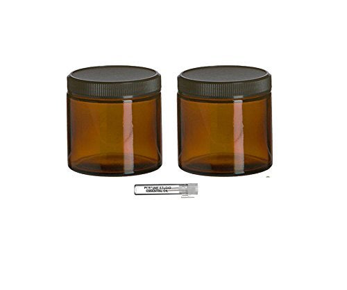 Perfume Studio Top Quality Thick Straight Sided 4oz Amber Glass Jar with Black BPA Free Ribbed Black Cap for Cosmetics Solutions; Plus a Pure Perfume Sample Vial (2 Pieces)