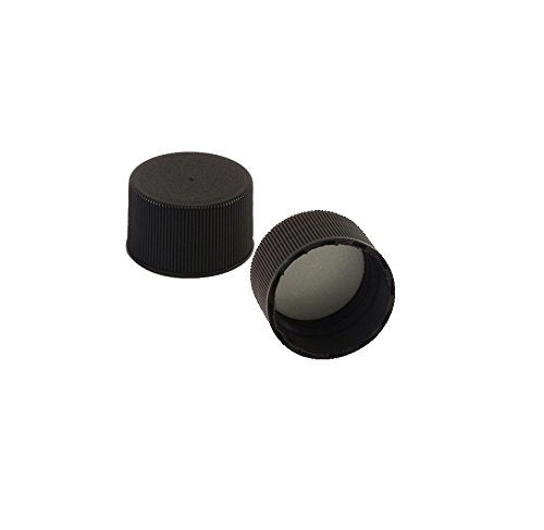 Black Screw Replacement Caps for 5oz Woozy Bottles and other Bottles with 24/410 Neck Finish, Includes 6 Labels (12)