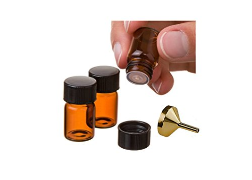 Natura Bona 2 ml (5/8 dram) Amber Glass Essential Oil Bottle with Orifice Reducer and Black Cap EO Bottles (12 Pack, Plus 1 Funnel)
