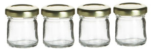 Cafe Cubano® Small Mini Glass Jar with Lids - Perfect Container for Jam, Honey, Spices, and for Favors (4 Pieces, 1.5oz Glass Jar)