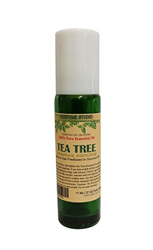 Tea Tree Roll On. Premium Essential Oil Prediluted with Fractionated Coconut Oil and Ready to Use. 10ml Green Glass Roller Bottle (Melaleuca Alternifolia)