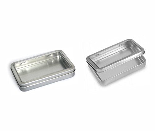 Rectangular Empty Hinged Tin Box Containers With Choice of Clear or Solid Hinged Top. Use For First Aid Kit, Survival Kits, Storage, Herbs, Pills, Crafts and More. (24, Clear Top: 5.5