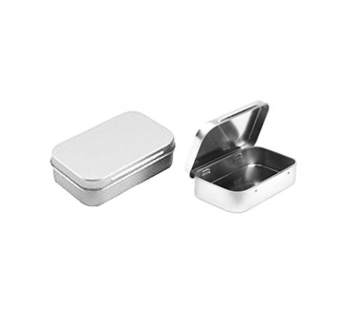 Rectangular Empty Hinged Tin Box Containers With Solid Hinged Top. Blank Altoid Tin: Use for First Aid Kit, Survival Kits, Storage, Herbs, Pills, Crafts and More. (3, Solid Top: 3.63