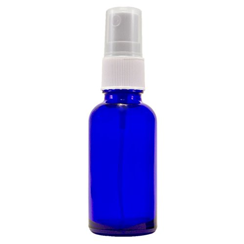 1 Oz Cobalt Blue Boston Round Glass Bottle with Fine Mist Sprayer