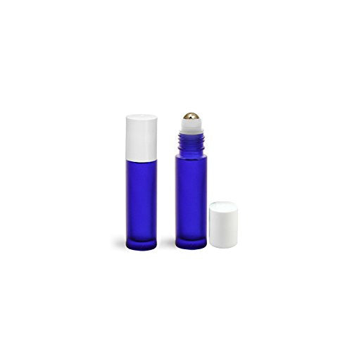 Perfume Studio Aromatherpy Roll On Blue Frosted Cobalt Bottles with Metal Ball Applicator/White Caps - 5 Units, 10 ml/.33 Oz.