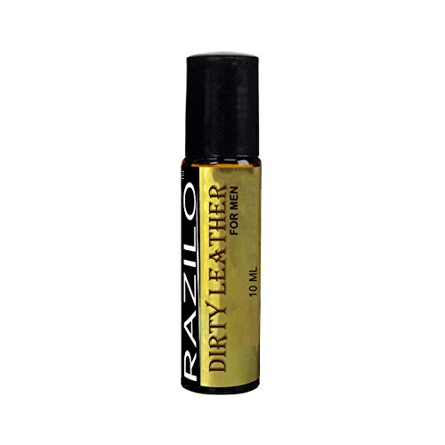 Dirty Leather Perfume Cologne Oil for Men by Razilo; Amber Glass Roll On Bottle; 10ml
